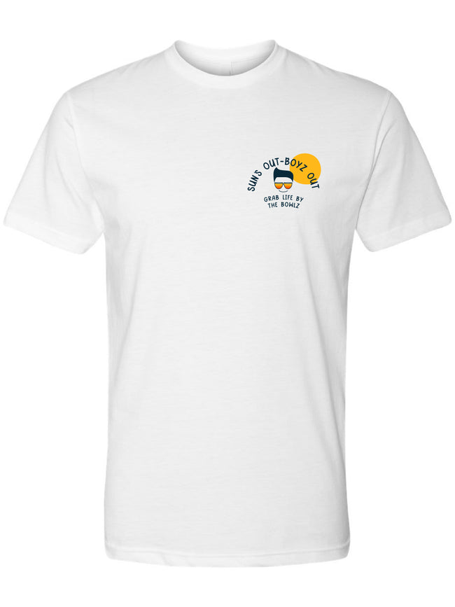 bowl boyz short sleeve white premium tshirts with sun's out boyz out logo on left chest