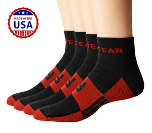 MudGear Trail Socks 1/4 Crew - Black/Orange (2 pair pack)