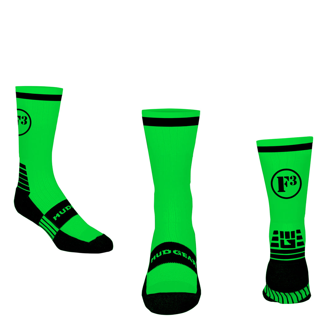F3 Cycle Sock - Green Pre-Order