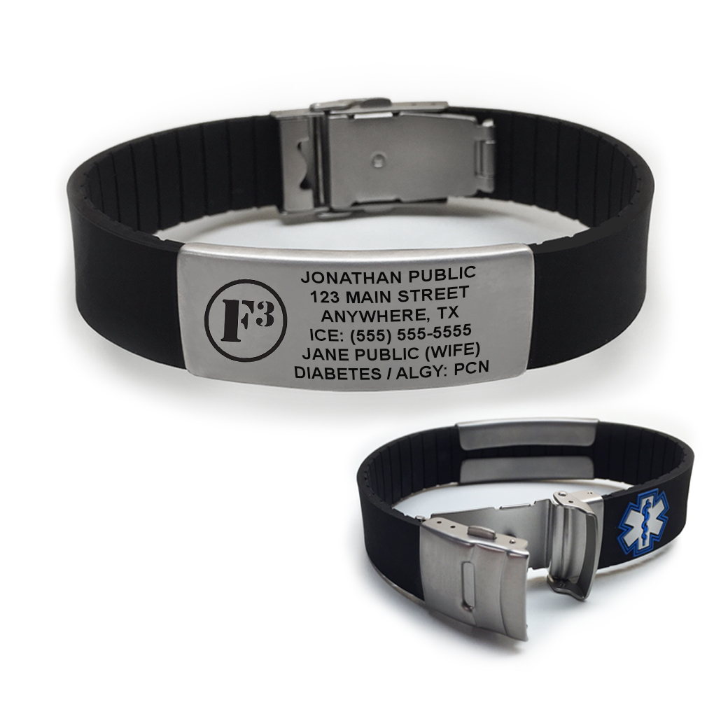 F3 Logo Sport Medical Alert ID Bracelet - Made to Order