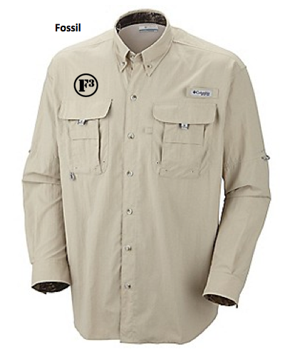 F3 columbia fishing shirt pre order the f3 gear store for Embroidered columbia fishing shirts