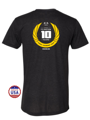 F3 10th Anniversary USA Made Tri-Blend Tee Pre-Order January 2021