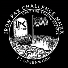 F3 Greenwood Iron Pax Challenge 2020 Pre-Order September 2020