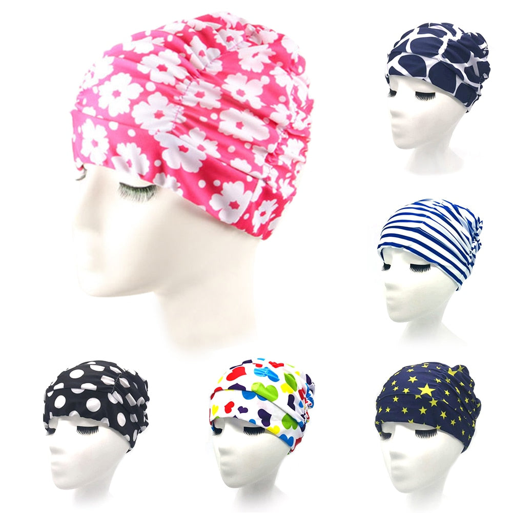 Unisex Swimming Cap Non Slip High Elasticity Long Hair Soft Printed Bathing Cap Adults Diving Stretch Sports Turban Swim Pool #2 - ArtificialBeast