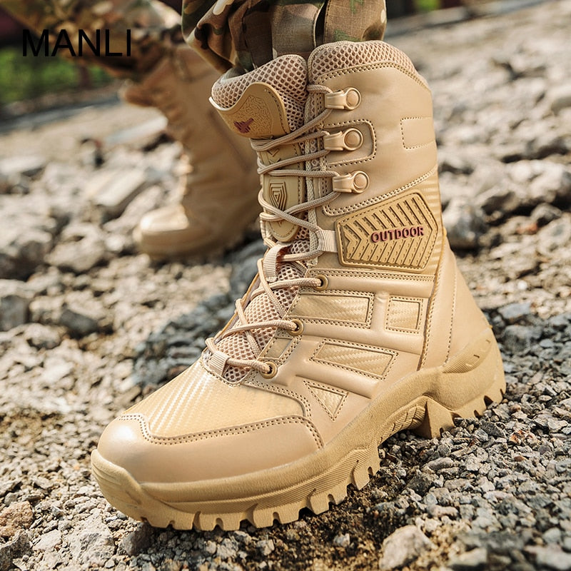 MANLI 2019 Outdoor Hiking Shoes Men's Desert High-top Military Tactical Boots Men Combat Army Boots Militares Sapatos Masculino - ArtificialBeast