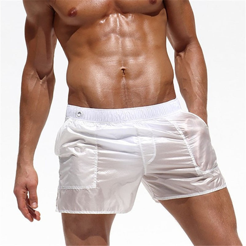 New 2019 Beach Shorts Board Swimwear Sunga Swimsuit mayo bikini Sexy Swimming translucent briefs de bain homme zwembroek heren - ArtificialBeast