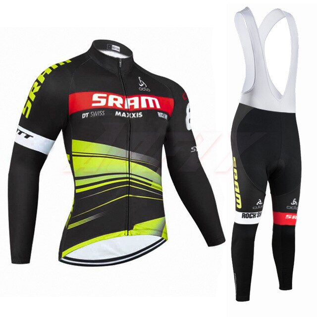 New Winter TEAM SRAM pro cycling jersey  Ropa Ciclismo Thermal fleece bicycling wear Maillot Bottoms 9D Pad thin bike pants suit - ArtificialBeast