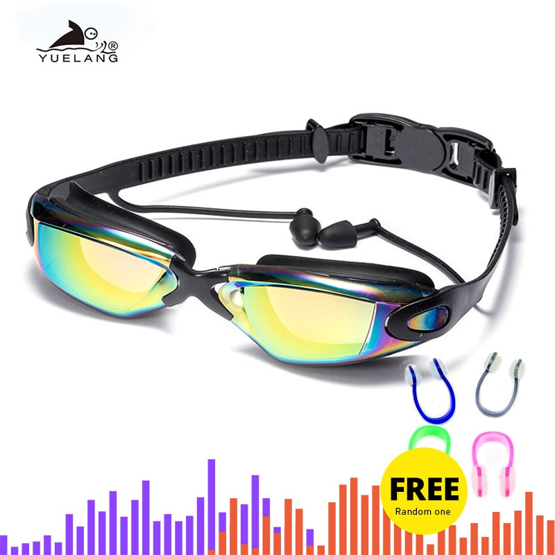 Professional Swimming Goggles swimming glasses with earplugs Nose clip Electroplate Waterproof Silicone очки для плавания adluts - ArtificialBeast
