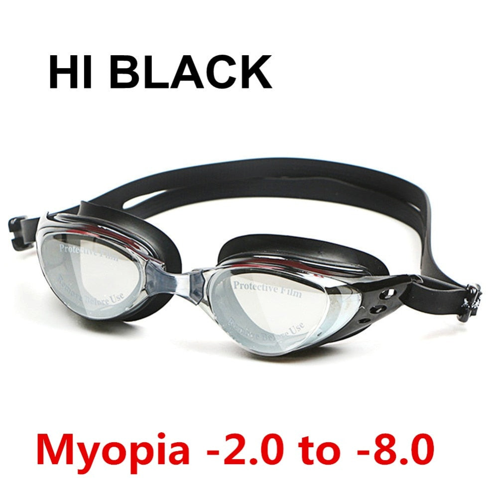 Swim Silicone Anti-fog Coated Water diopter Swimming Eyewear glasses mask Adult Prescription Optical Myopia Swimming Goggles - ArtificialBeast