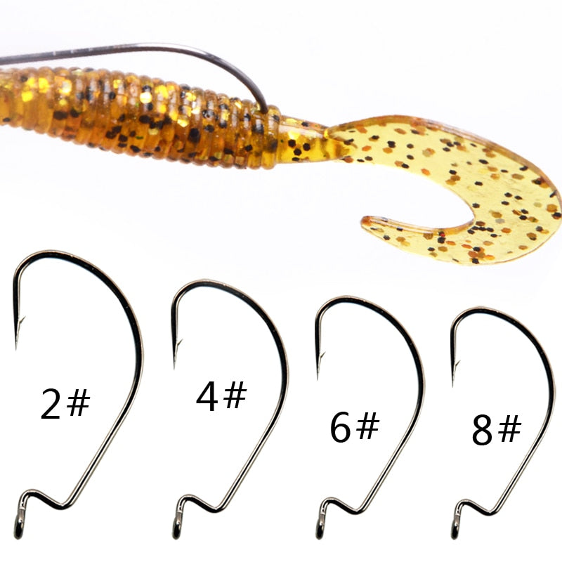 BaMMax Fishing hook High quality 10pcs 8# 4# 2/0 3/0 crank hook for Soft Worm Bait Crankbait Fishing Tackle accessories pesca - ArtificialBeast