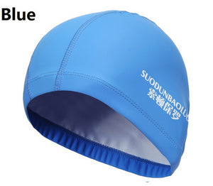 New 2019 Elastic Waterproof PU Fabric Protect Ears Long Hair Sports Swim Pool Hat Swimming Cap Free size for Men & Women Adults - ArtificialBeast