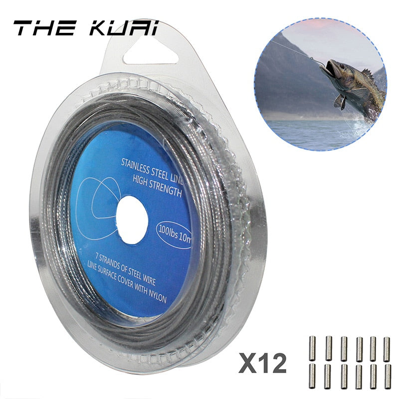 THEKUAI 10M 7 Strands Coated Braided Stainless Wire Fishing Rigging Material Coating Wire Leader Coating Wire Lead Fish Line - ArtificialBeast