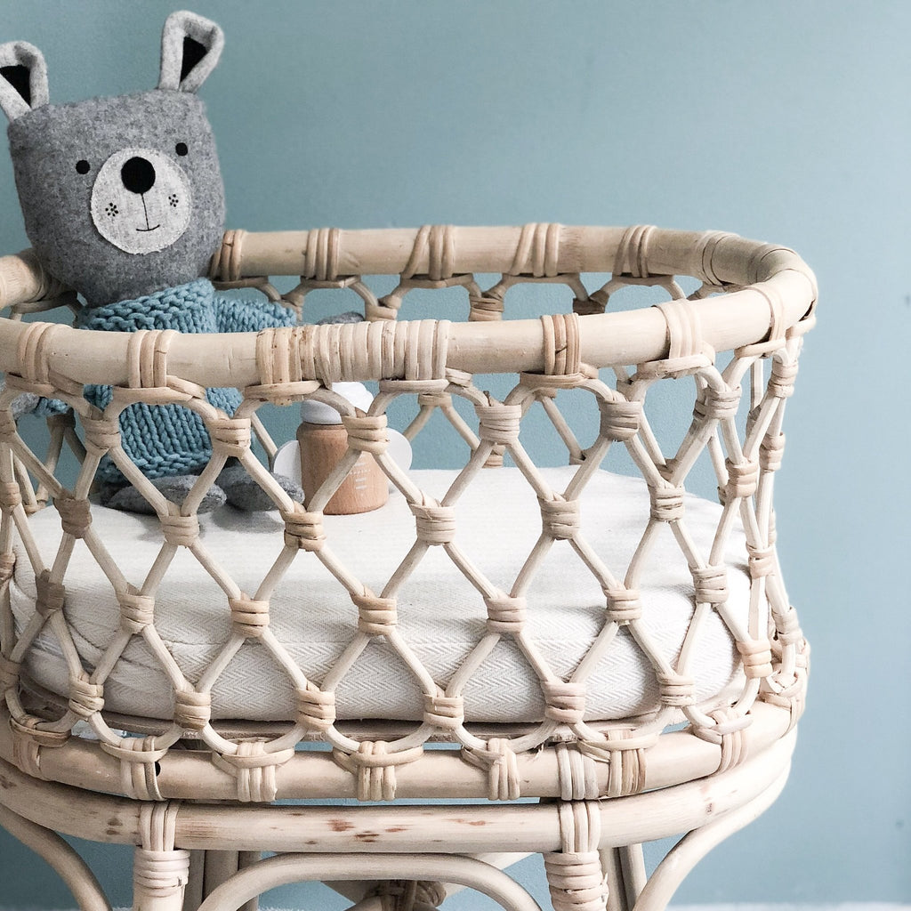 Tiny Harlow standard rattan dolls bassinet- in stock - Made for Mia