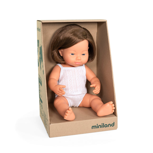 Caucasian Brunette Girl with Down Syndrome - 38cm Miniland - boxed with underwear - Made for Mia