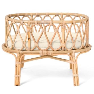 Poppie Toys- Poppie Rattan Crib- White - Made for Mia