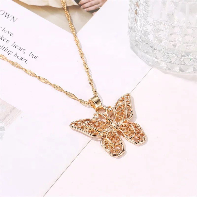 Double butterfly necklace(gold)