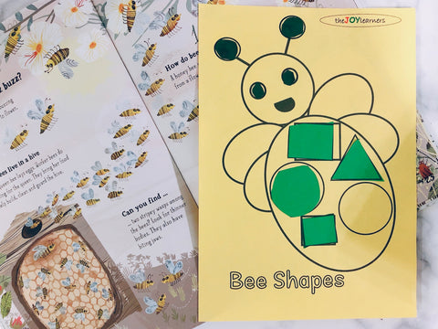Bee shapes matching free printables