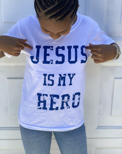 White and Royal Jesus Is My Hero Logo T-shirt -- KIDS