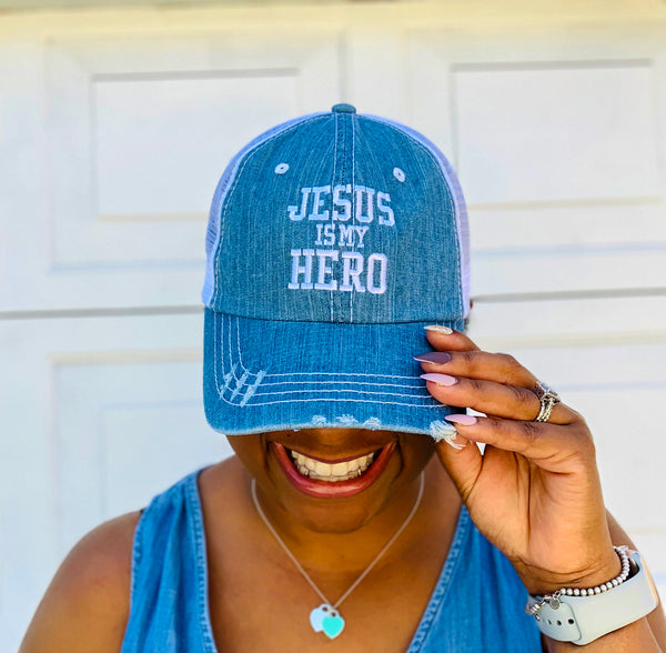 Jesus Is My Hero -- Distressed Denim Trucker Cap