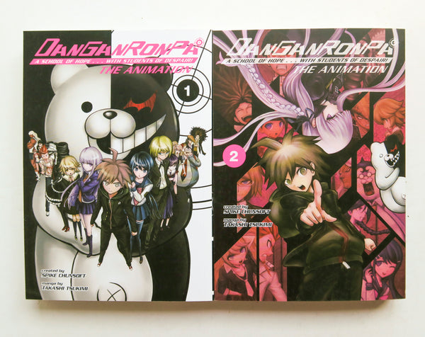 Danganronpa A School of Hope With Students of Despair The Animation Vol. 1 & 2 Dark Horse Manga Book Lot