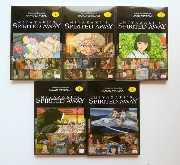 Spirited Away Vol. 1 2 3 4 & 5 Hayao Miyazaki Viz Media Manga Book Lot