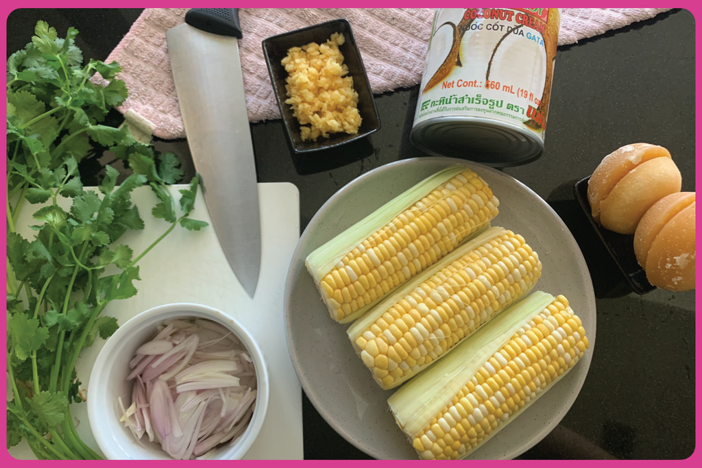 Pot ang Cambodian grilled corn coconut sauce
