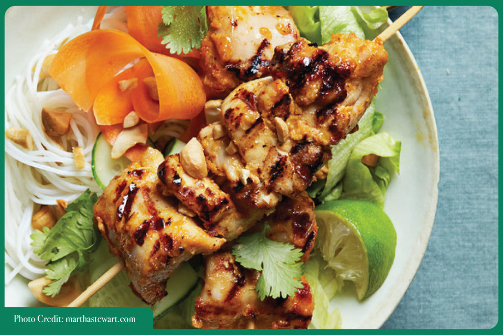 Thai chicken skewers peanut sauce Asian Christmas cooking