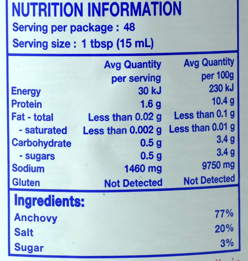 Squid Brand Fish Sauce 725ml Nutritional Information & Ingredients