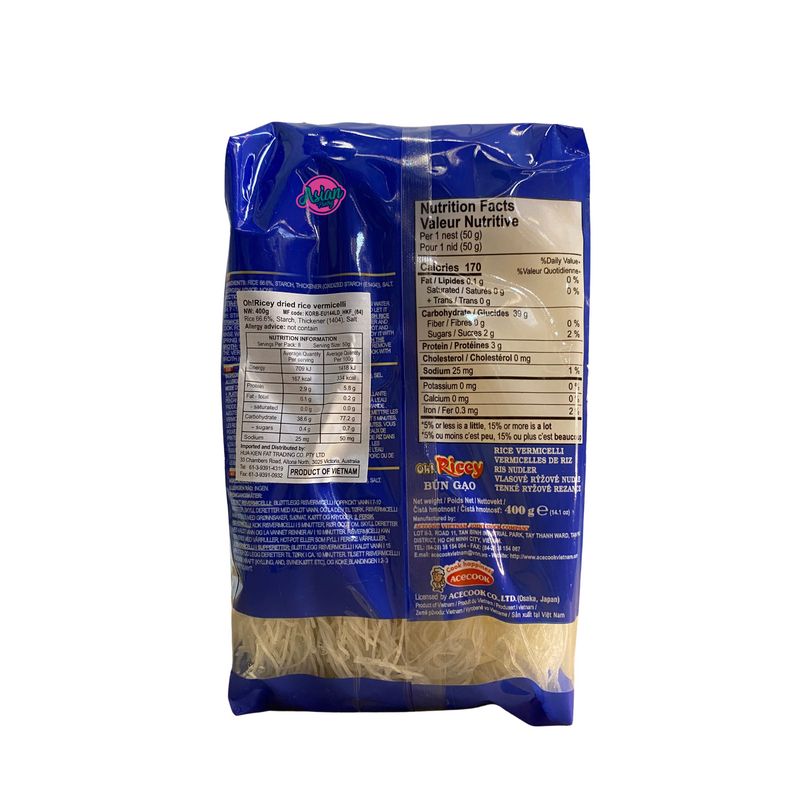 Acecook Oh Ricey Rice Vermicelli 400g Nutritional Information & Ingredients