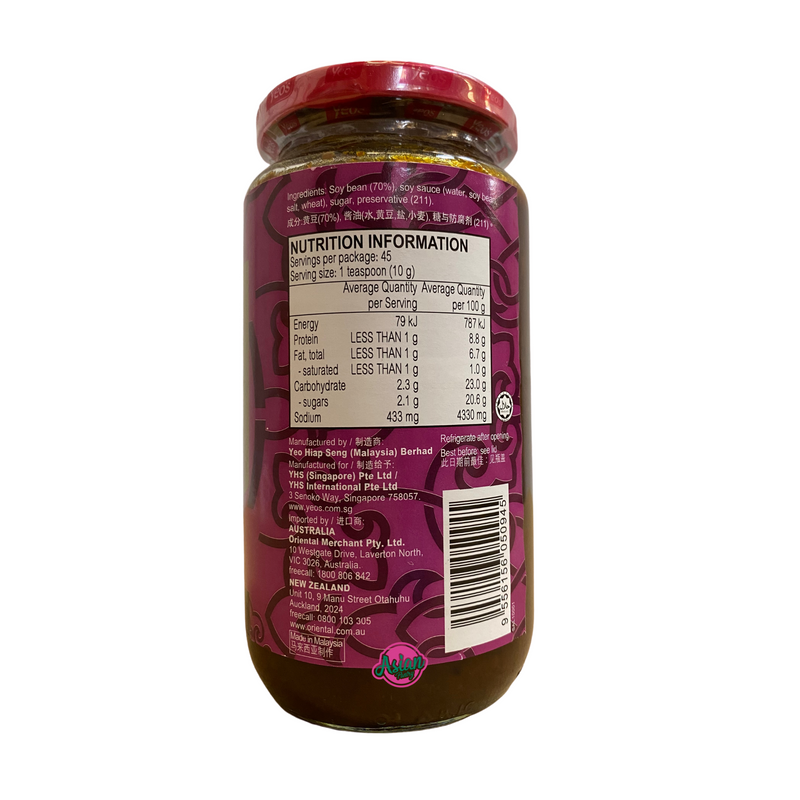 Yeo's Sweet Soy Bean Paste 450g Nutritional Information & Ingredients