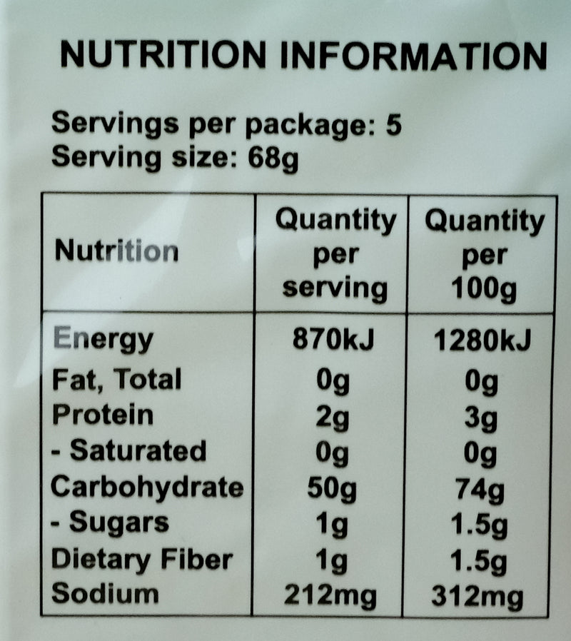 Bamboo Tree Fine Rice Vermicelli (Banh Hoi) 341g Nutritional Information & Ingredients