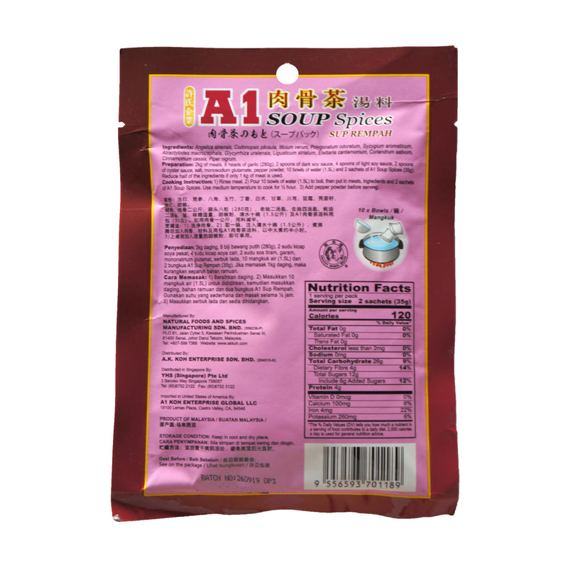 A1 Bak Kut Teh Soup Spices 35g Back
