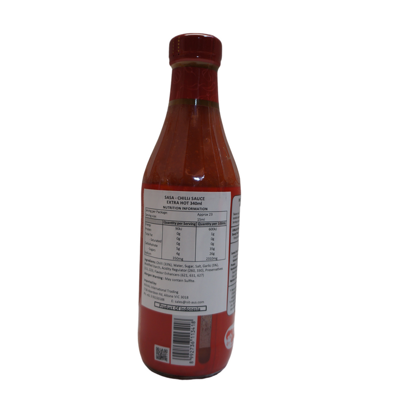 Sasa Extra Hot Sambal Chilli Sauce 340ml Back