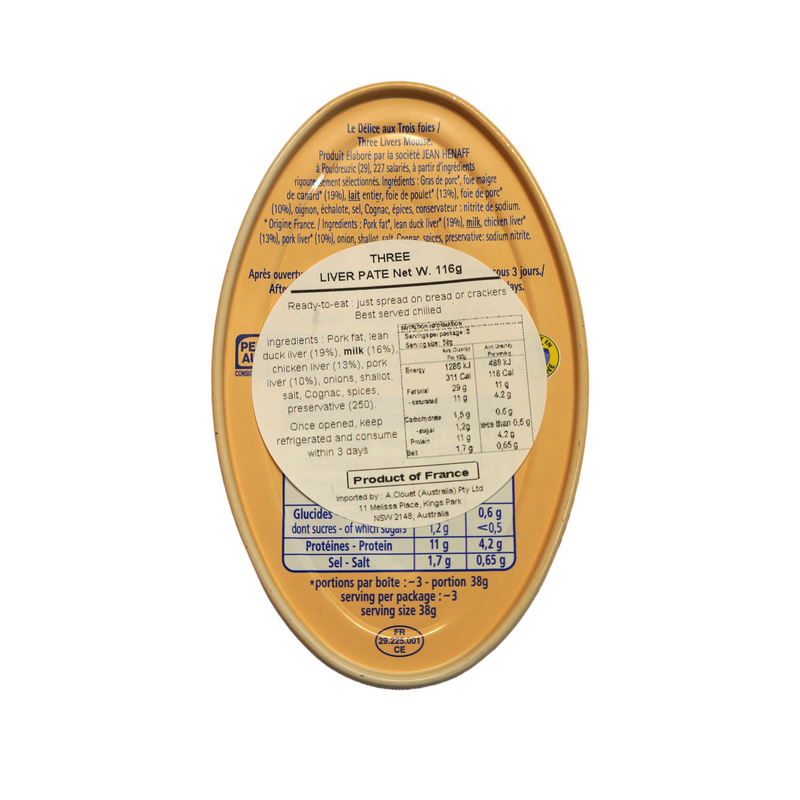 Henaff Three Liver Pate 116g Nutritional Information & Ingredients