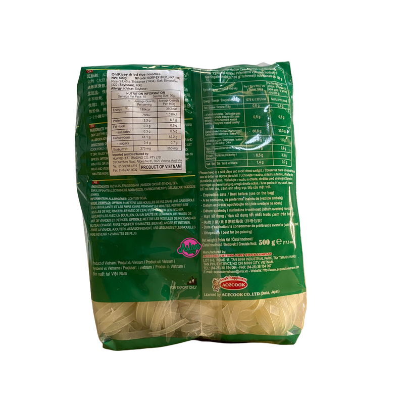 Acecook Oh Ricey Pho Rice Noodle 500g Back