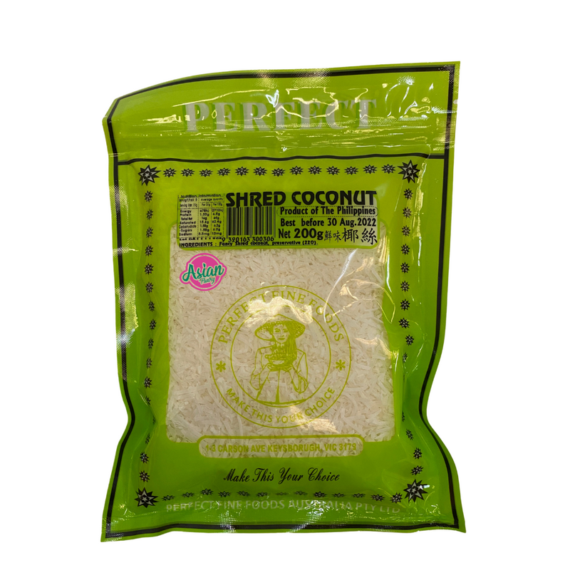 Perfect Fine Foods Shredded Coconut 200g Front