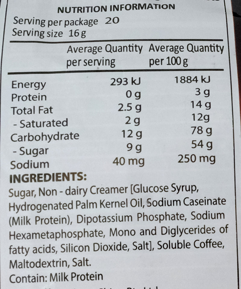Trung Nguyen G7 Instant Coffee Mix 3 in 1 320g Nutritional Information & Ingredients