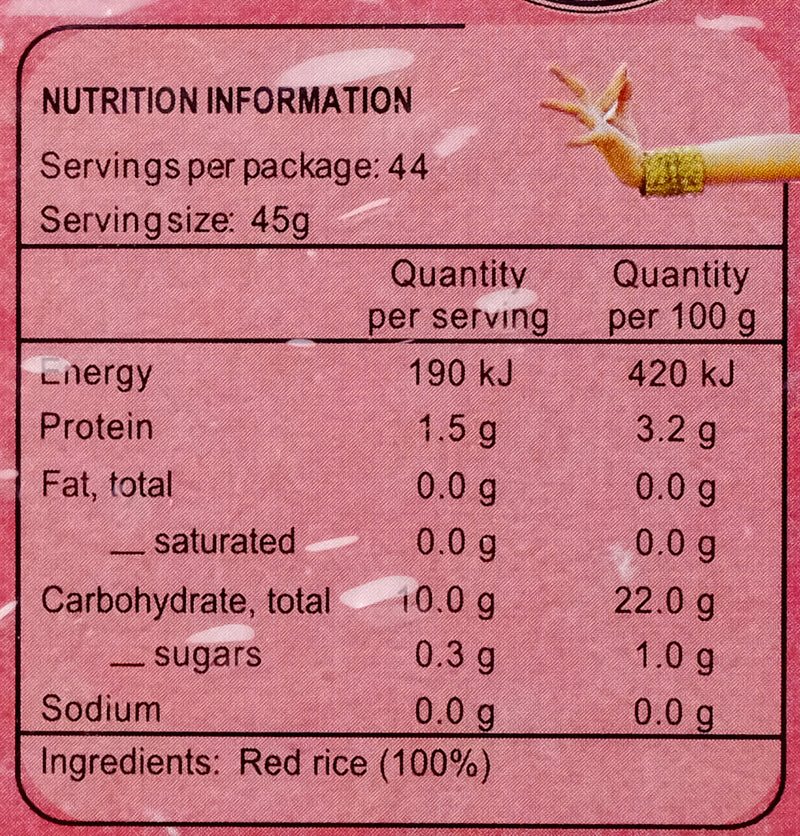 Golden Choice Red Rice 2000g Nutritional Information & Ingredients