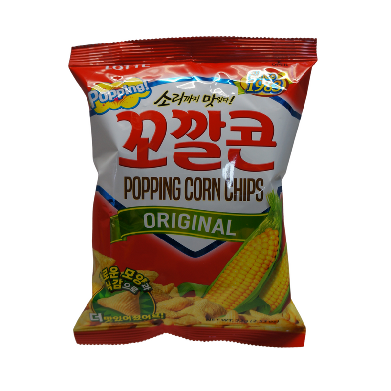 Lotte Popping Corn Chips Original 72g Front