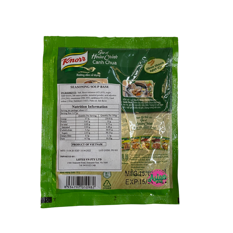 Knorr Canh Chua Seasoning Powder 30g Back