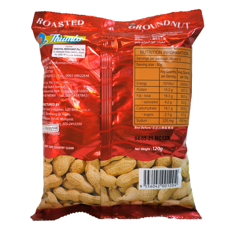 Thumbs Roasted Nut Snack 120g Back