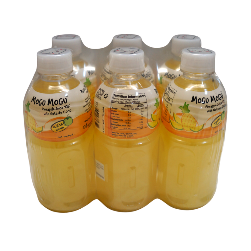 Mogu Mogu Pineapple Juice with Nata De Coco 6pk 1.92Lt Front