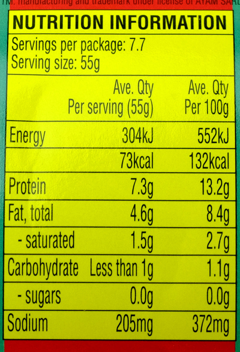 Ayam Brand Sardines in Tomato Sauce 425g Nutritional Information & Ingredients