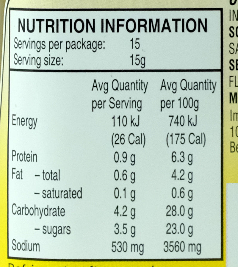 Weichuan Dumpling Sauce 190ml Nutritional Information & Ingredients