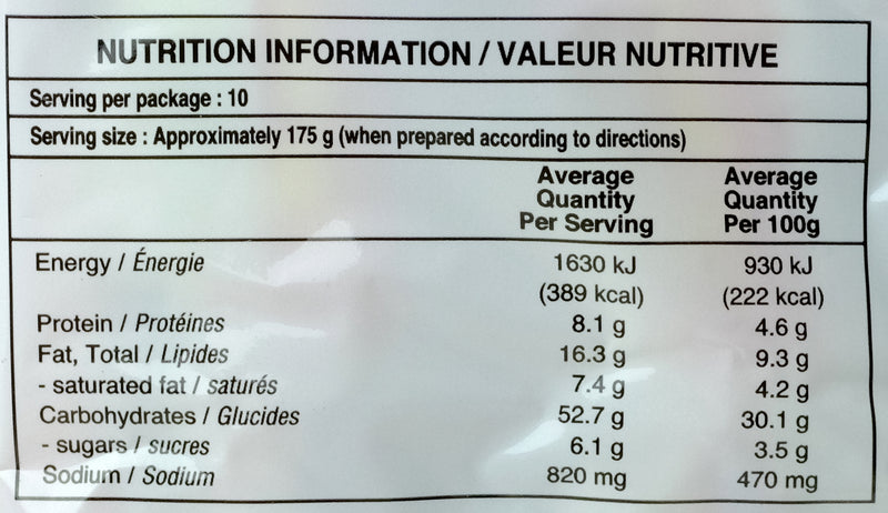 Indomie Mi Goreng Noodles 10 pack 850g Nutritional Information & Ingredients