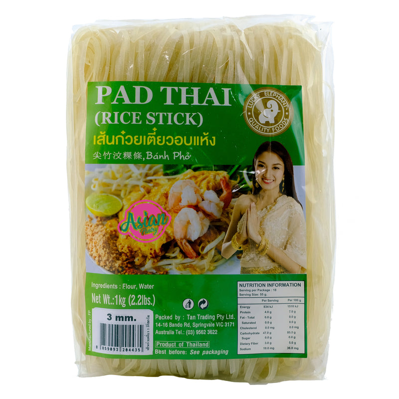 Lucky Elephant Pad Thai Rice Stick 3mm 1000g Front