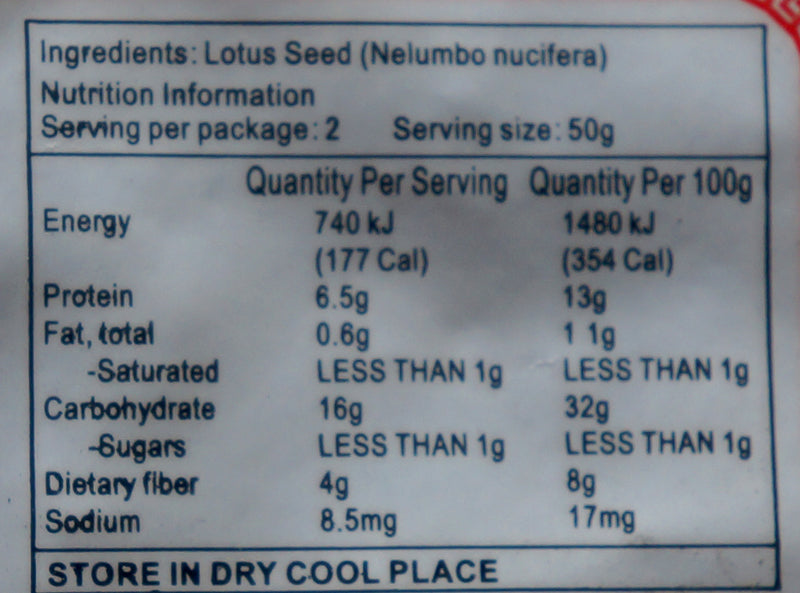 Goldfish Brand Dried Lotus Seed 100g Nutritional Information & Ingredients