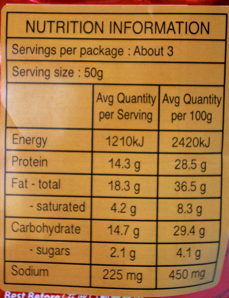Thumbs Roasted Nut Snack 120g Nutritional Information & Ingredients