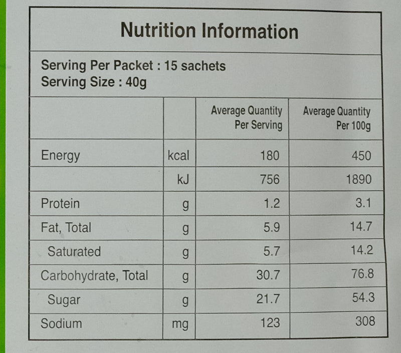Aik Cheong Teh Tarik Milk Tea Beverage 600g Nutritional Information & Ingredients