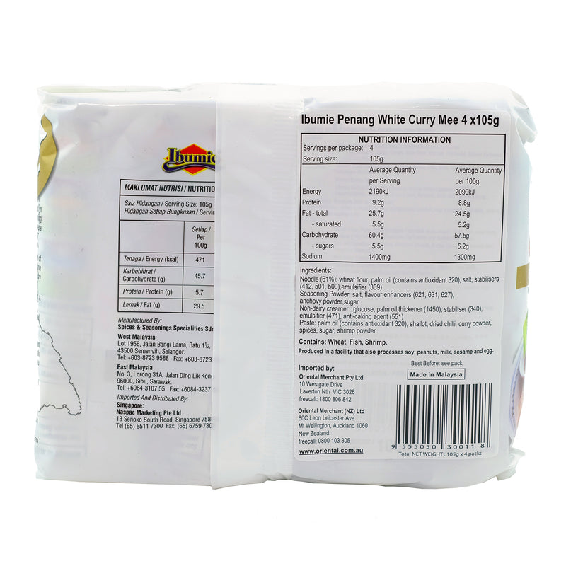 Ibumie Penang White Curry Mee 4 Pack 420g Back